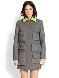 Womens Car Coat Alexander Wang Cargo Pocket Car Coat In Gray Lyst