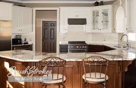 White Painted Cabinets With Glaze by Kitchen Cabinets Brushstrokes By Mary Anne Chalk Paint Milk