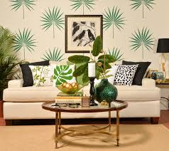 trend spotting tropical decorating stencil stories a diy stenciled living room accent wall using the palmetto leaf wall art stencil for the
