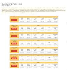 maharaja express train fare ticket cost tariff schedule 2017