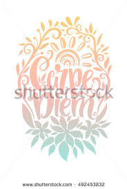 carpe diem lettering design seize day stock vector 492453832