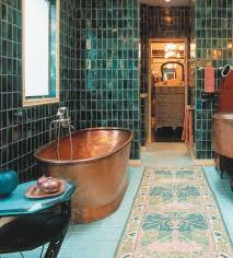 turquoise tile bathroom cool bathroom love the turquoise tiles and copper tub green tile