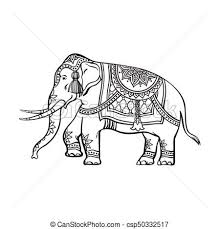 vector clip art of vector sketch indian decorated elephant