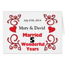 1 yr anniversary 5 year anniversary greeting cards zazzle