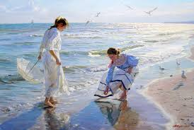 alexander averin two girls looking for amber on the beach