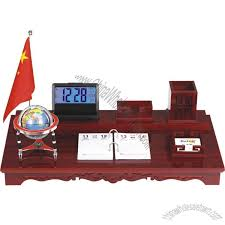 wooden office gift set with digital clock name card holder pen