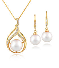 jewelry necklace pearl set images Bella 18ct gold vermeil pearl necklace and earrings set pearl lang jpg