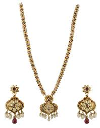 long necklace set images Golden finish styled with multi colour shimmering stone jpg