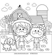 vector black white illustration children playing stock vector