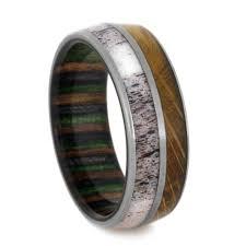 Deer Antler Wedding Rings by Titanium Wedding Band With Dymondwood And Antler Antlers And