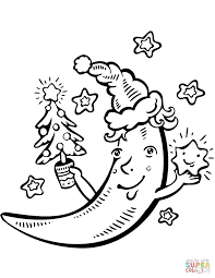 cartoon crescent moon with christmas tree coloring page free