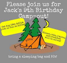 Backyard Birthday Party Invitations Great 9 Year Old Boy Birthday Party Idea Backyard Campout
