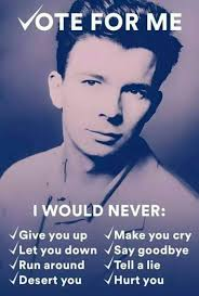 Vote For Me Meme - rick astley vote for me memes and comics