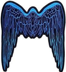 buy wings blue large back patch biker mc