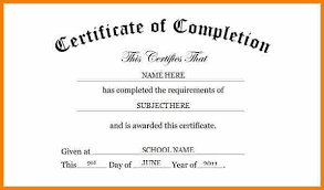 certificate of completion word template completion certificate