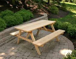red cedar picnic table w attached benches