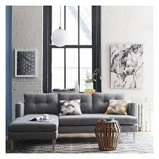 Blue Sectional Sofa With Chaise by West Elm Jackson Sectional Linen Weave Dusty Blue Sectional