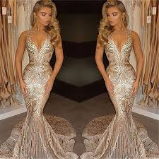 deep v neck champagne gold sequins prom dresses 2017 mermaid