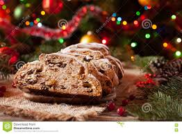 traditional german christmas cake stollen with marzipan nuts and