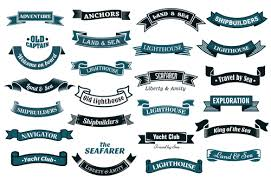 name ribbon backgrounds nautical ribbon banners vector set