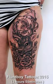 josie u0027s fellow deer u0026 rose thigh tattoo by fluntboy tattoo time