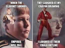 Nerd Karate Kid Meme - clarinet boy vs karate kyle who s tougher