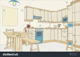 illustration outline sketch kitchen interior stock illustration