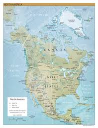 North America Map by Large Detailed Relief Map Of North America North America Large