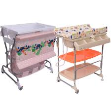 Bath Change Table Homcom Baby Rolling Changing Table Unit Storage Station Pad Tray