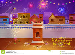 Home Decoration During Diwali Indian House Decorated With Diya In Diwali Night Stock Vector