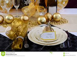 Gold Table Setting by White And Gold Happy New Year Elegant Fine Dining Table Place