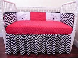 Pink Chevron Crib Bedding Custom Crib Bedding Set Black And White By Babybedding On Zibbet
