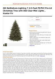 bethlehem lights christmas trees gki bethlehem lighting 7 1 2 foot pe pvc pre lit christmas tree with