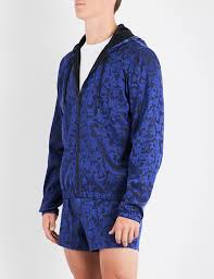 versace jacquard print shell jacket in blue for men lyst