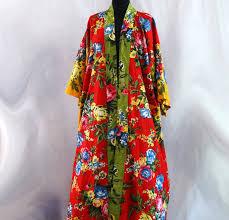 kimono robe de chambre kimono robe de chambre vert et jaune à fleurs en coton