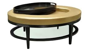 furniture stylish black round ottoman coffee table with button