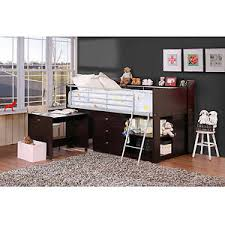Bunk Bed With Storage And Desk Storage Wood Loft Bed With Desk Espresso Ebay
