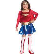 Wonder Woman Makeup For Halloween by Wonder Woman Child Velvet Deluxe Dress Halloween Costume Walmart Com