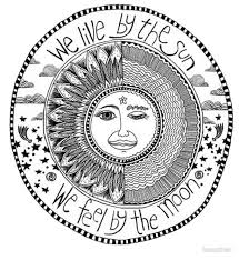 sun moon we live by the sun we feel by the moon metal prints by