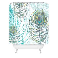 Deny Shower Curtains Rachael Taylor Peacock Feathers Shower Curtain Deny Designs