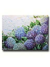 purple hydrangea giclee print abstract painting hydrangea flowers impasto