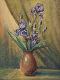 floral still life painting by v a richardson texas