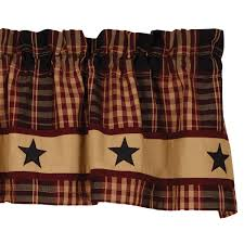 Brown Gingham Curtains Primitive Curtains And Country Valances For Country Home Decorating