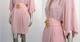 the frippery chic 80s pink sheer deepv wrap kimono mini