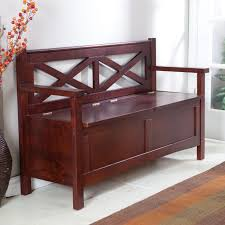 Wooden Entryway Bench Furniture Brown Wood Entryway Bench With X Back And Arms Also