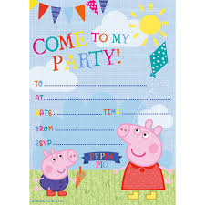 peppa pig party peppa pig party invitations 20 pack hobbycraft