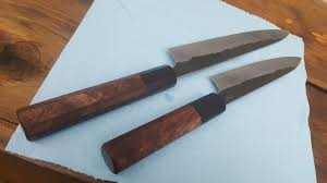 a pair of hand forged white 2 core kurouchi kitchen knives 150mm