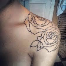 beautiful roses outline shoulder tattoo design for women flower