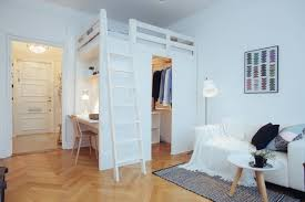 studio apartment with loft bed and clever storage studio u0026 loft