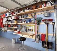 Build Wood Shelves Your Garage by Wonderful Garage Shelving Ideas Wall And Ceiling Charming Blue